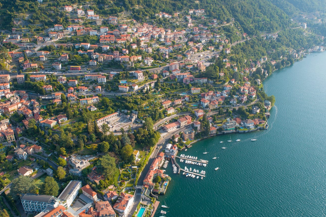 Aerial view of town on Lake Como