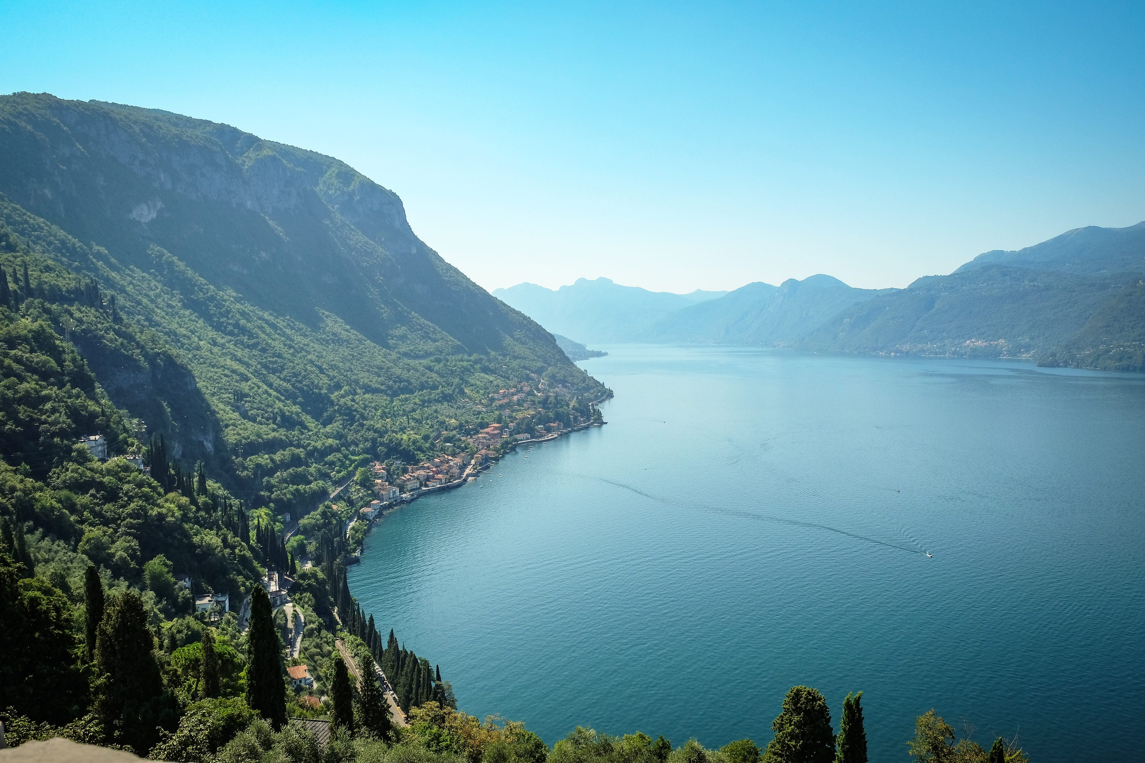 Looking out over Lake Como's blue waters