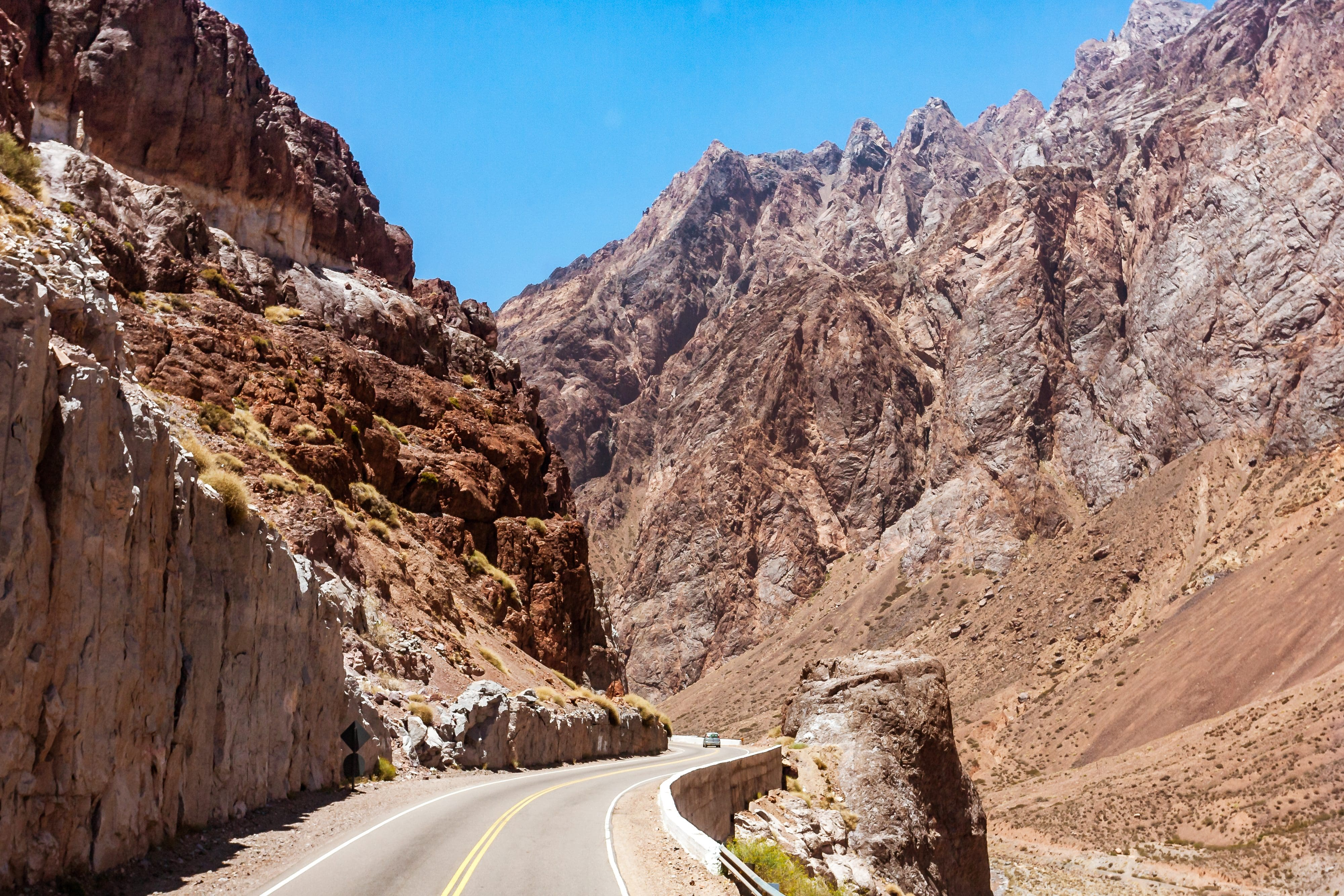 Open roads through the Andes mountains