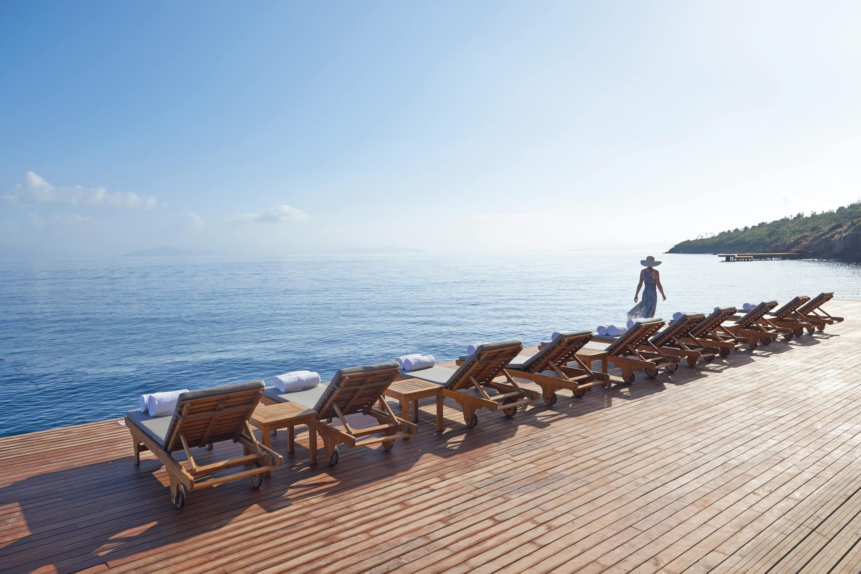 Sun deck and sea at Mandarin Oriental, Bodrum
