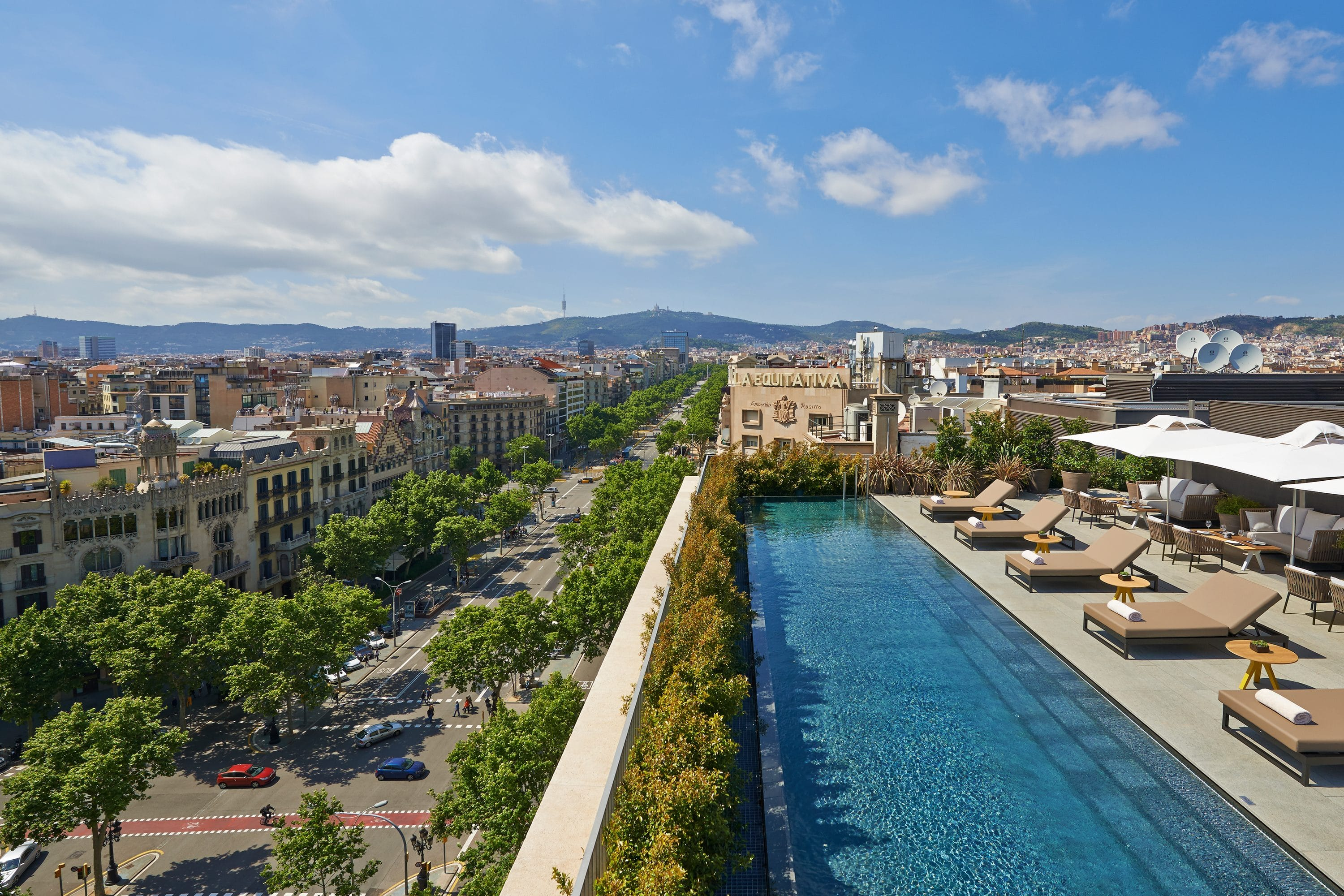 Rooftop pool and view of city at Mandarin Oriental, Barcelona