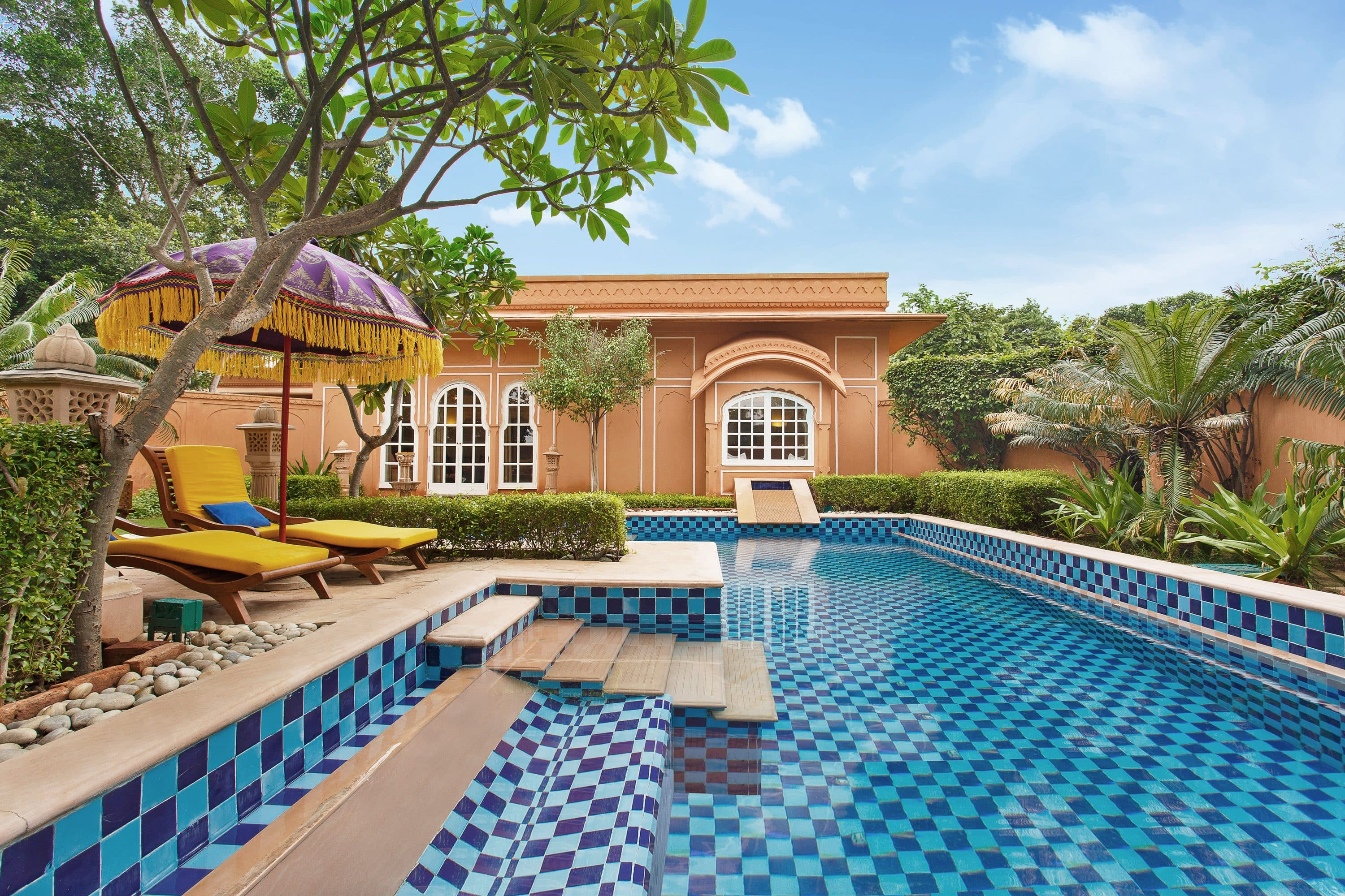 Pool and villa at The Oberoi Jaipur