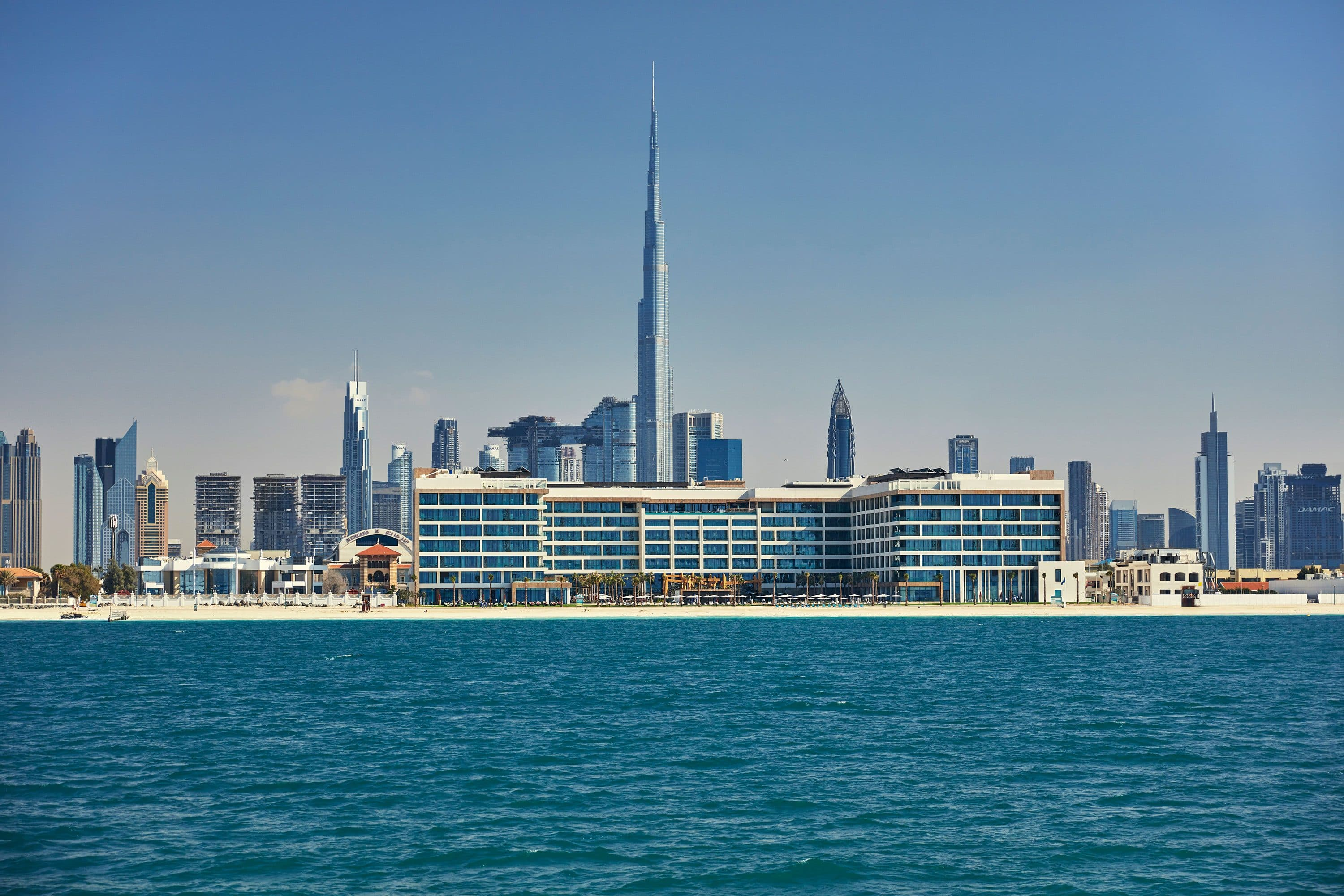 View of Mandarin Oriental Jumeira, Dubai and the city from the sea