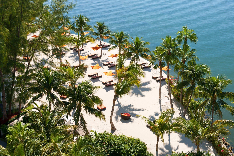 Aerial view of the private beach at Mandarin Oriental, Miami
