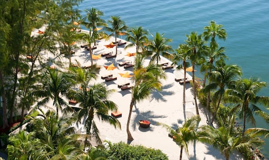 Aerial view of the private beach at Mandarin Oriental, Miami