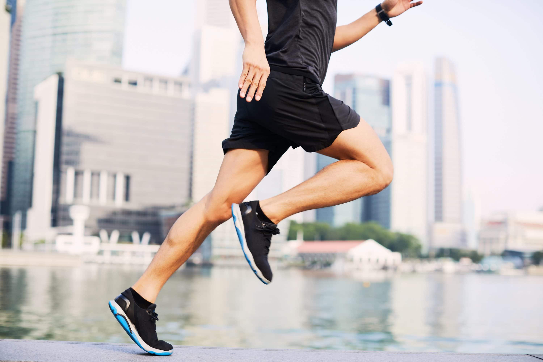 Man runs in Marina Bay, Singapore
