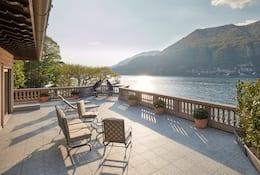 View of terrace and lake at Mandarin Oriental, Lago di Como