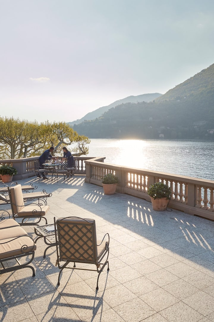 Panoramic terrace view of lake at Mandarin Oriental, Lago di Como
