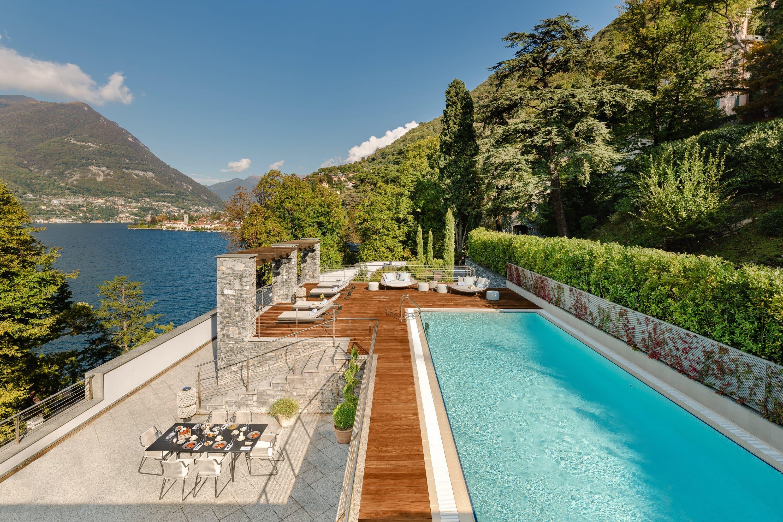 Terrace, pool and lake view at Mandarin Oriental, Lago di Como