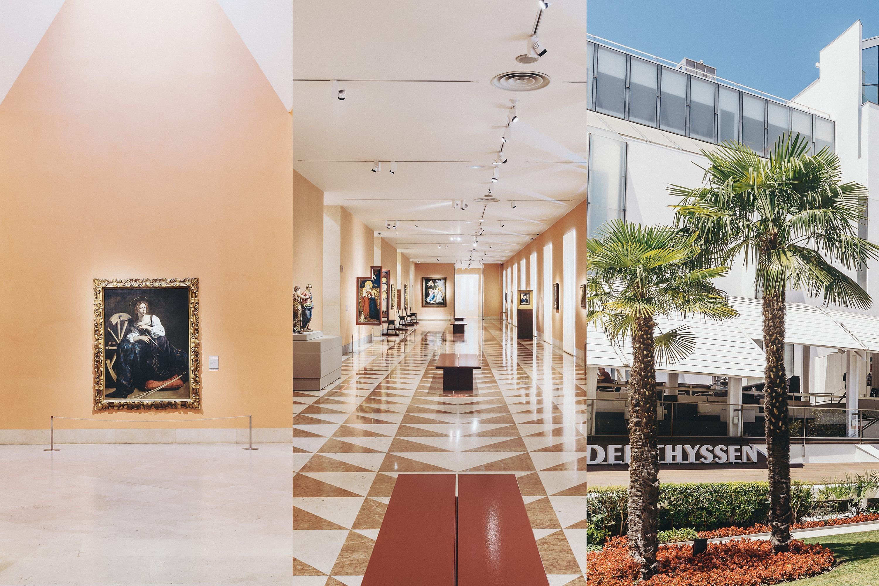 Collage of images showing inside the galleries and exterior of the Museo Nacional Thyssen-Bornemisza