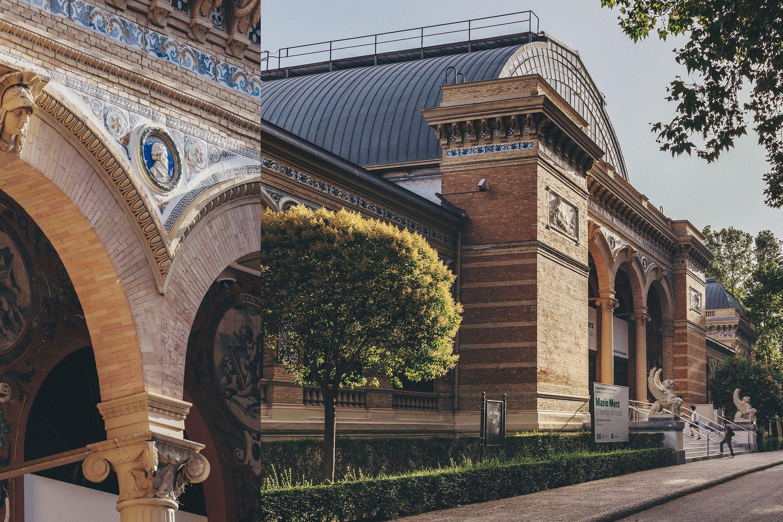 Collage of images of the exterior details of Palacio de Velázquez, Madrid