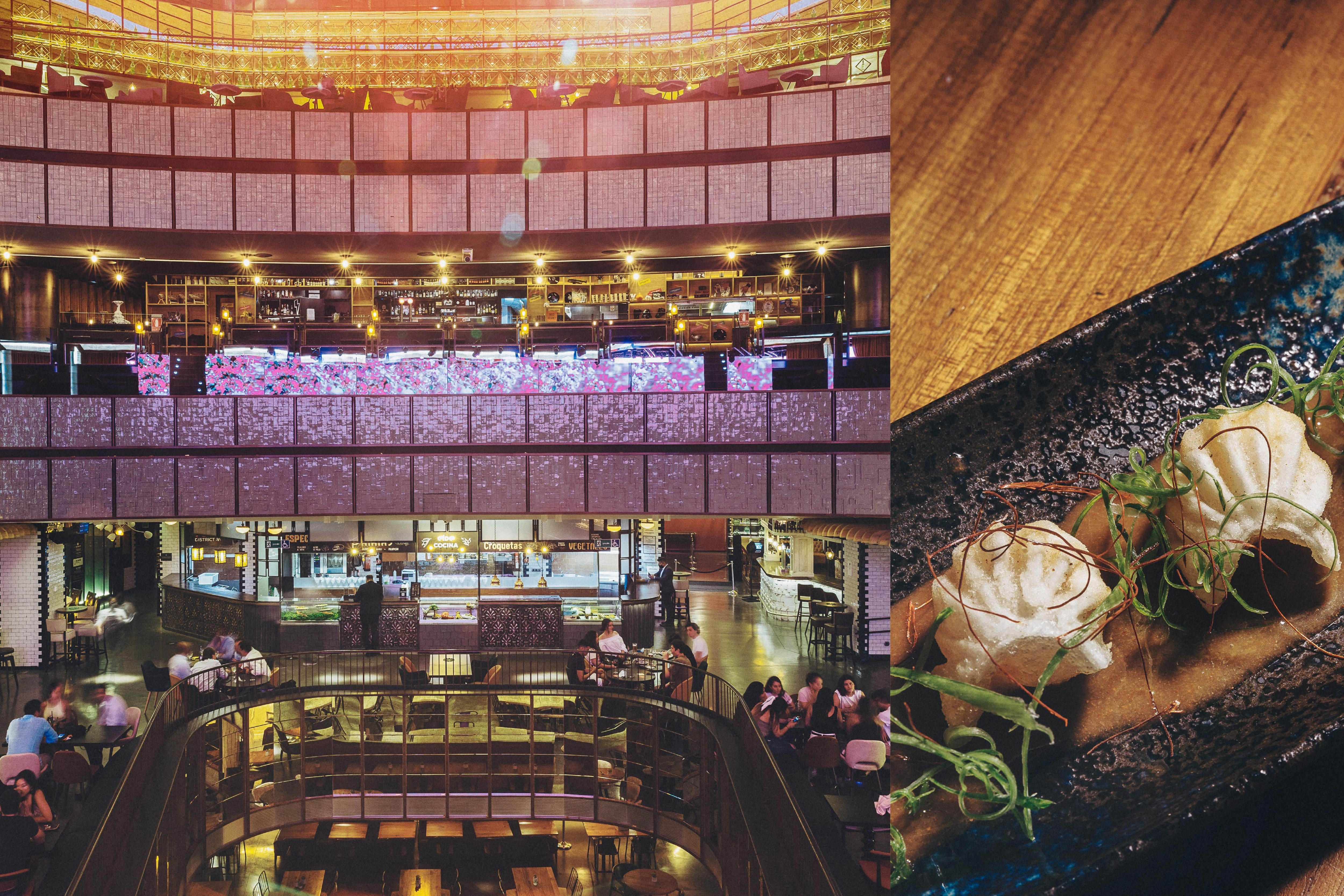 Collage of images showing the interior of Platea and a a dish of gyoza