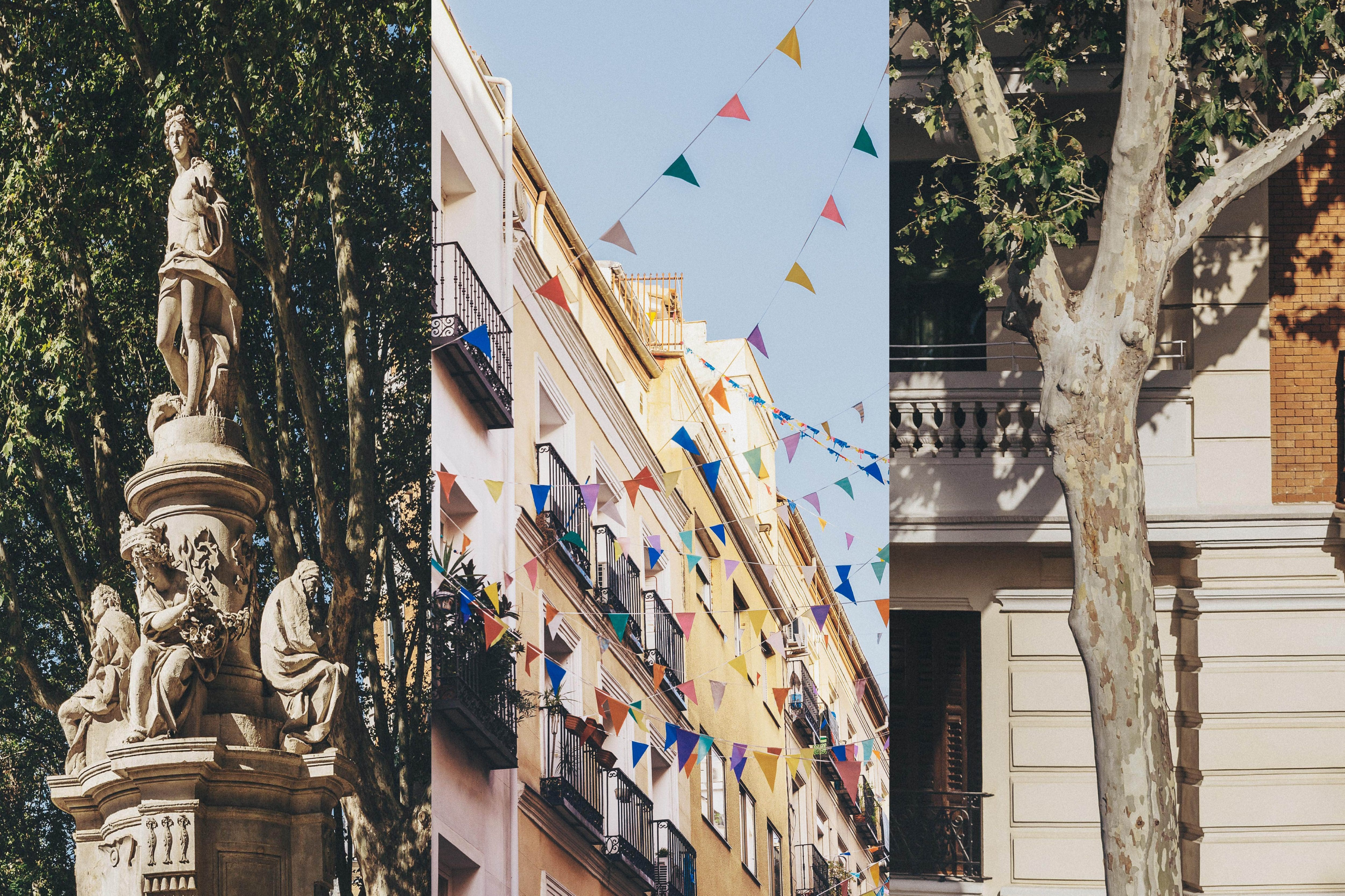 Collage of images of streets of Madrid, including a classical monument and colourful banners hanging between windows