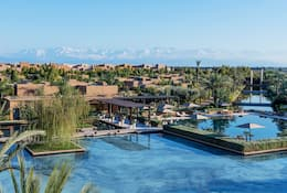 View of pool and mountains in Marrakech