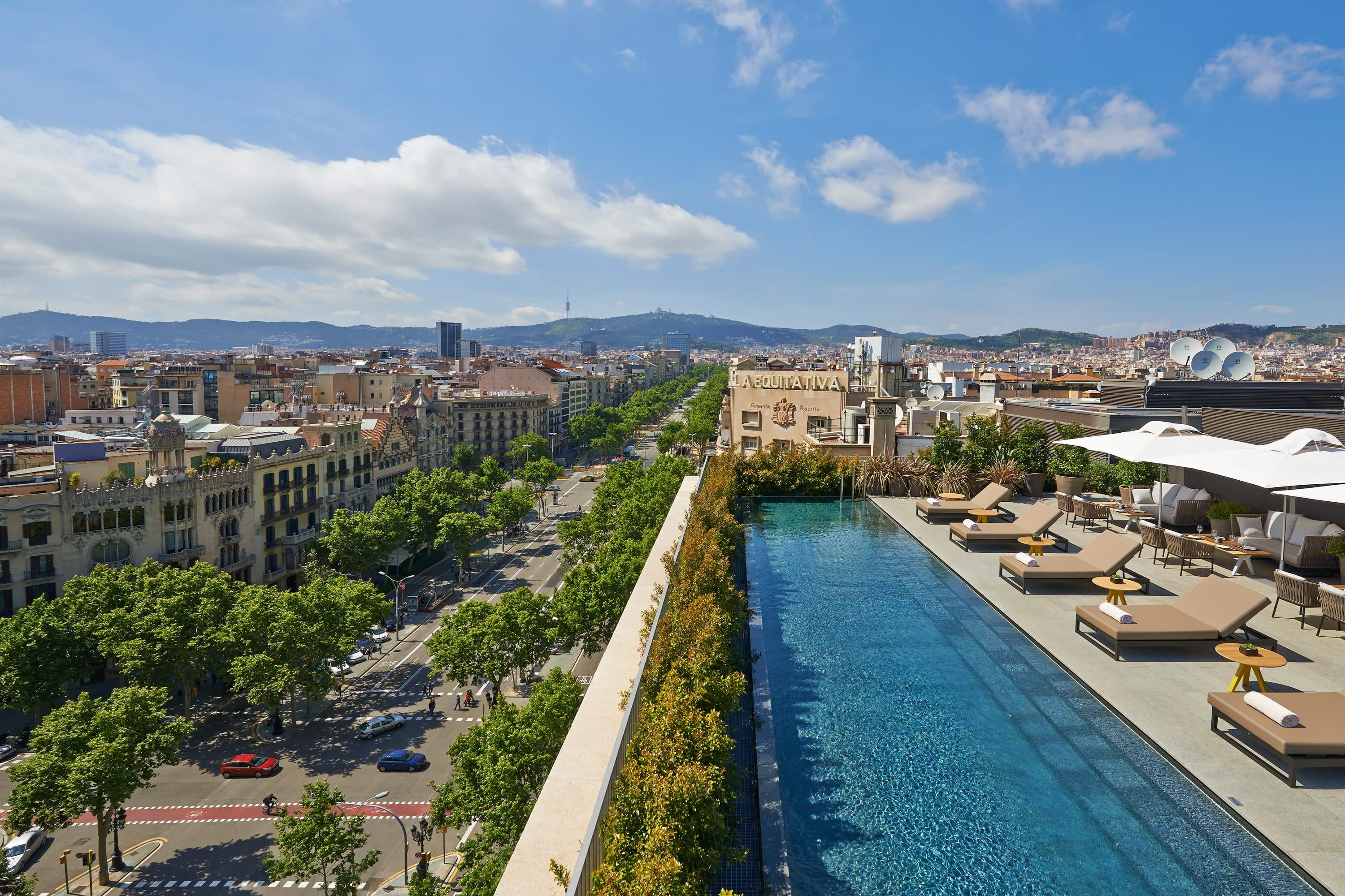 Rooftop pool and views of Barcelona