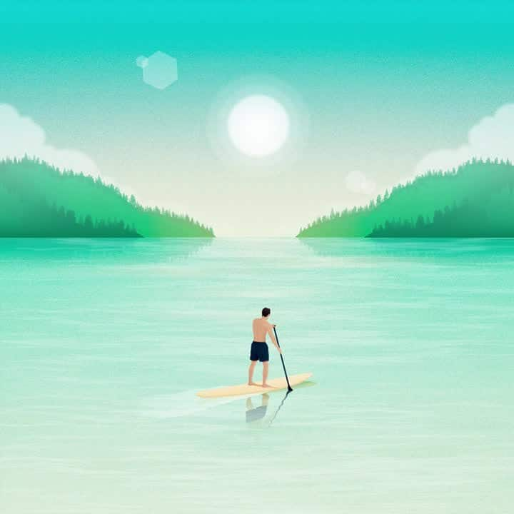 Illustration of man on a stand up paddleboard