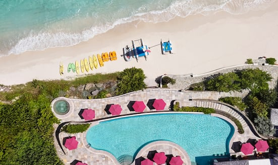 Aerial shot of pool at Mandarin Oriental, Canouan