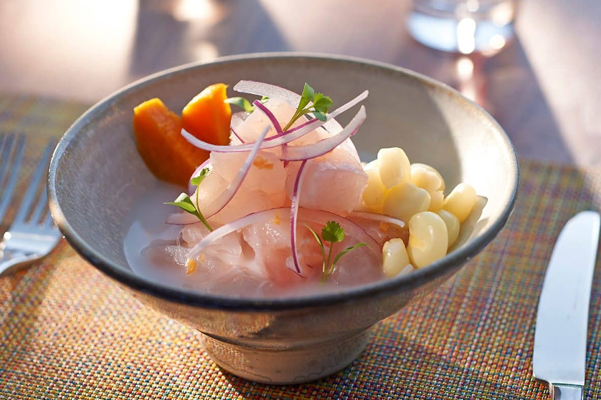 A plate of ceviche