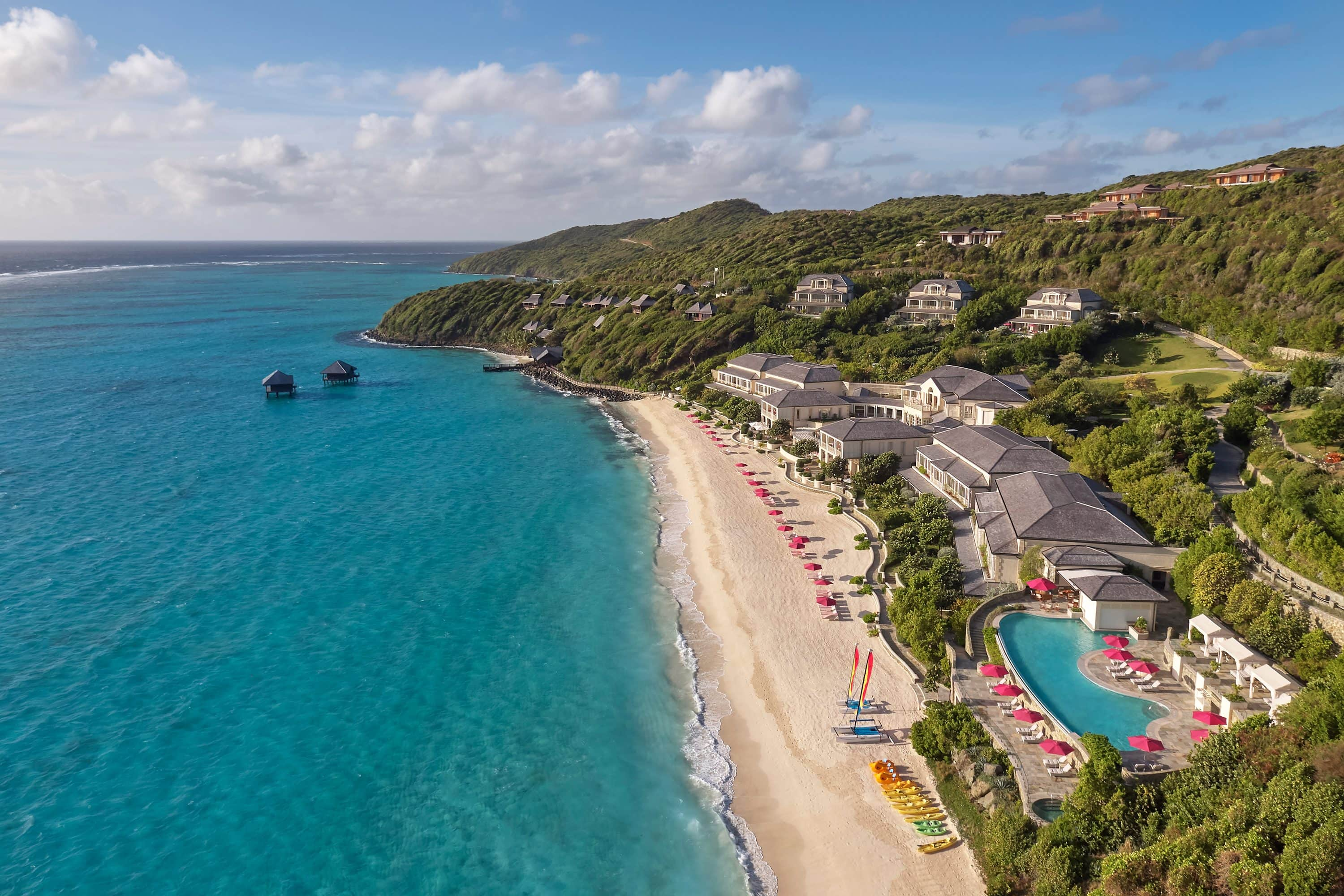 Aerial shot of Mandarin Oriental, Canouan beach resort