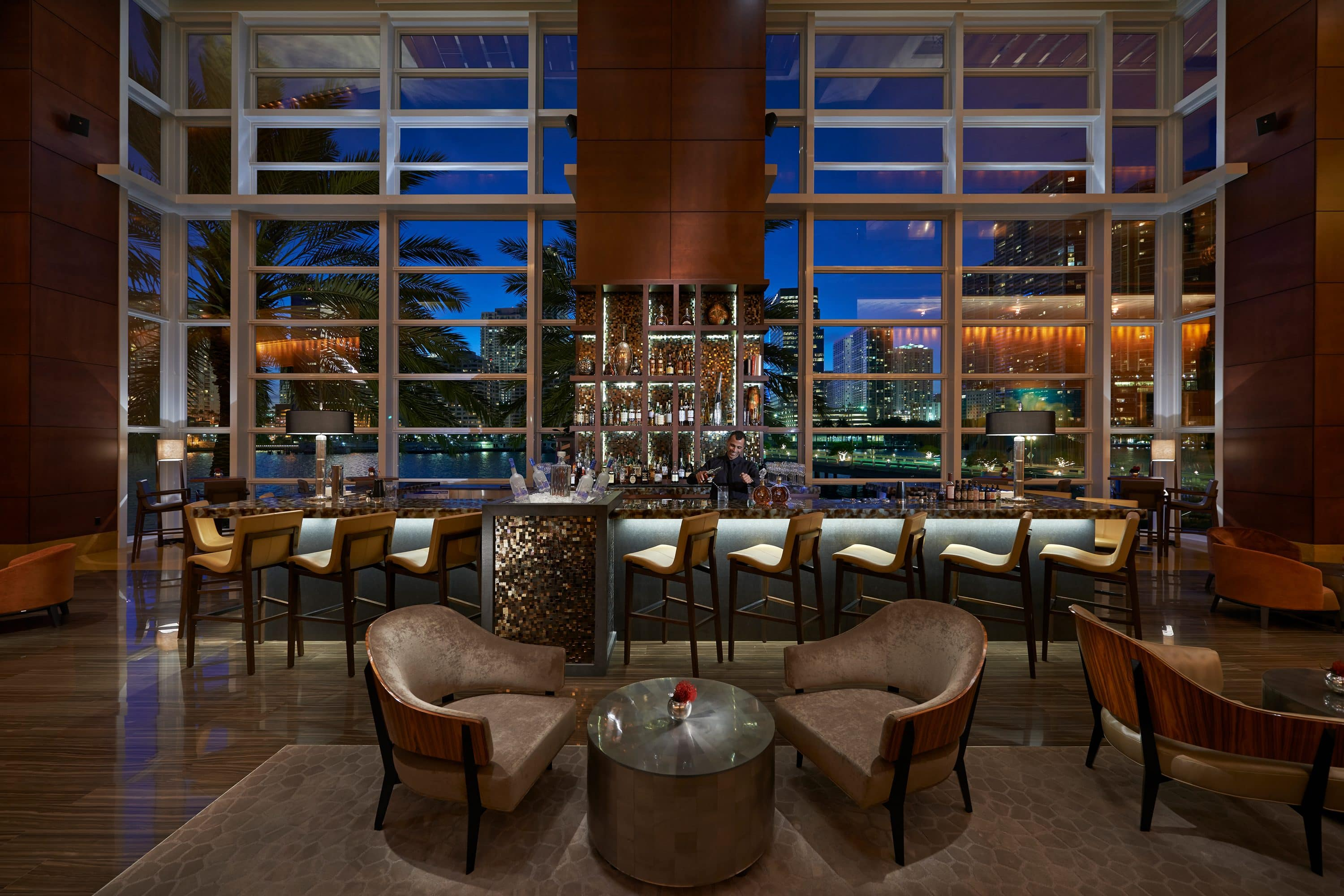 The illuminated bar at MO Bar at Mandarin Oriental, Miami