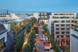 View of city and a suite terrace at Mandarin Oriental, Paris