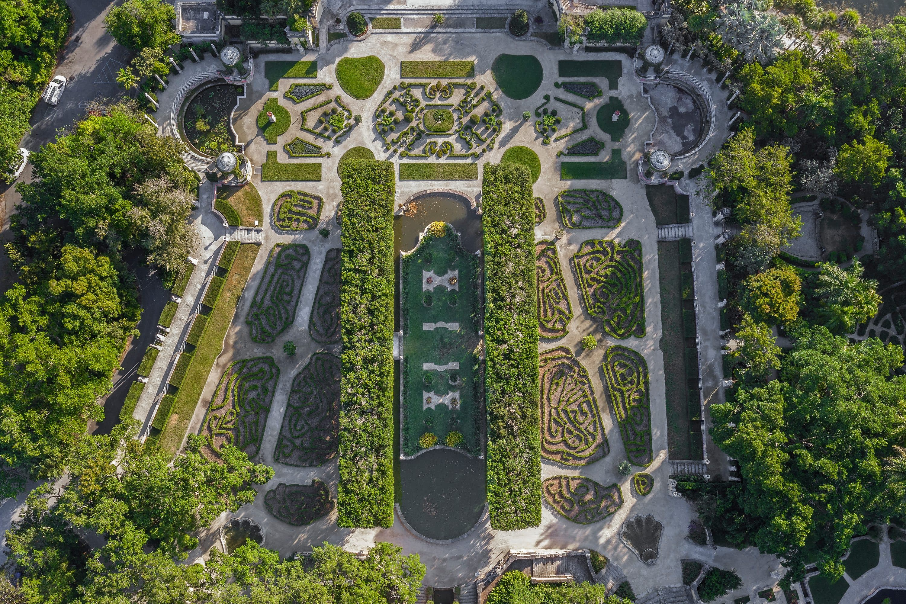 Ariel view of Vizcaya Museum and Gardens