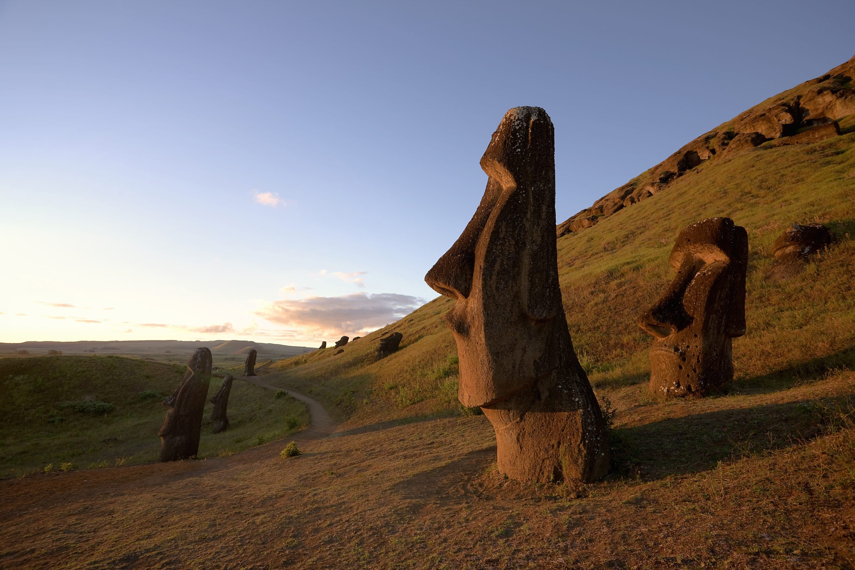 Statues in the mountains at Rapa Nui National Park, Santiago