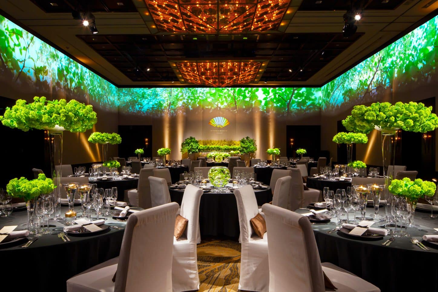 The ballroom laid out for a wedding at Mandarin Oriental, Tokyo
