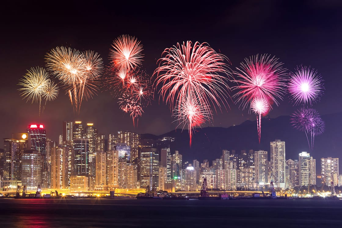 Firework display in Victoria Harbour, Hong Kong