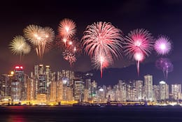 Firework display in Victoria Harbour, Hong Kong