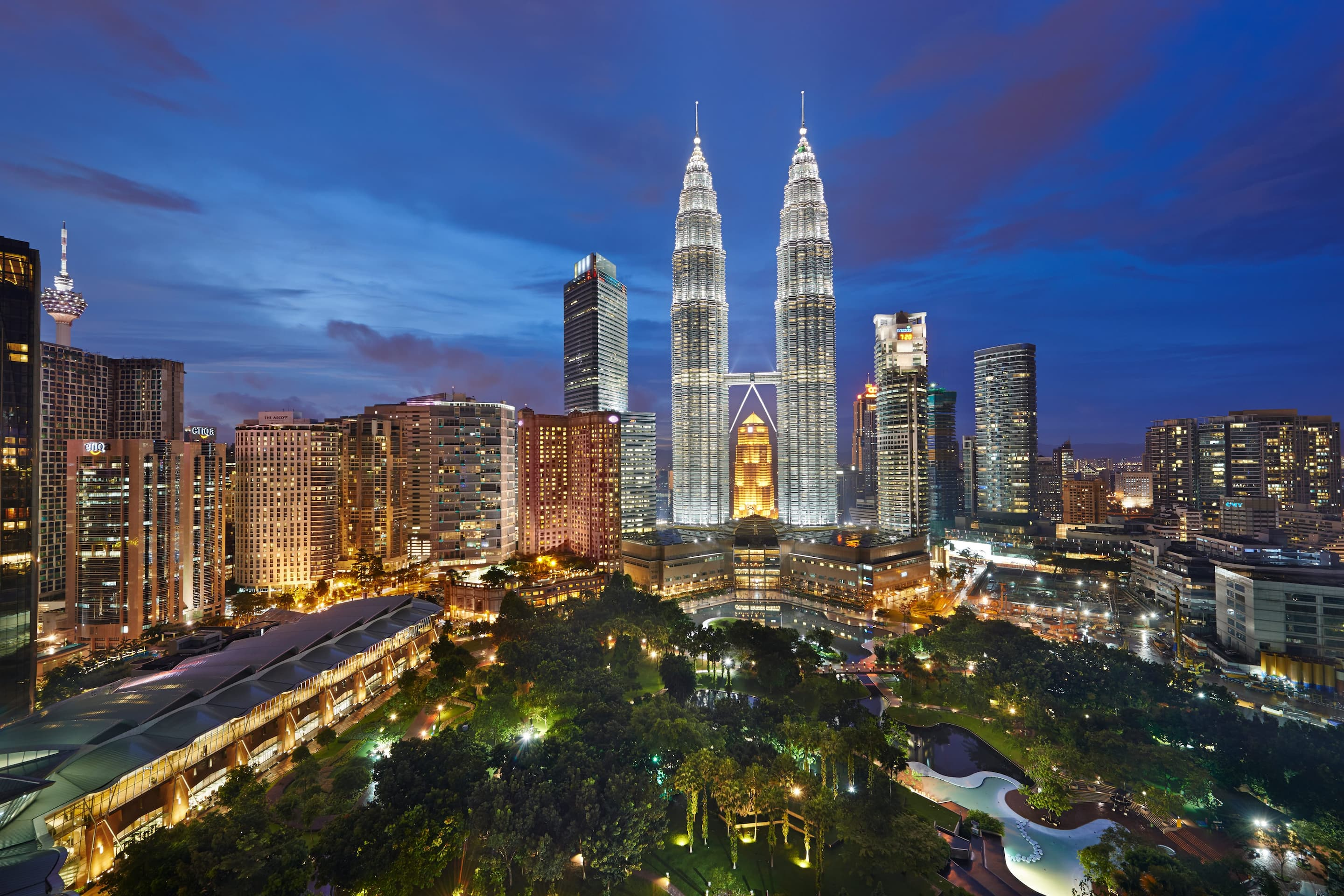 View of Petronas Twin Towers at night