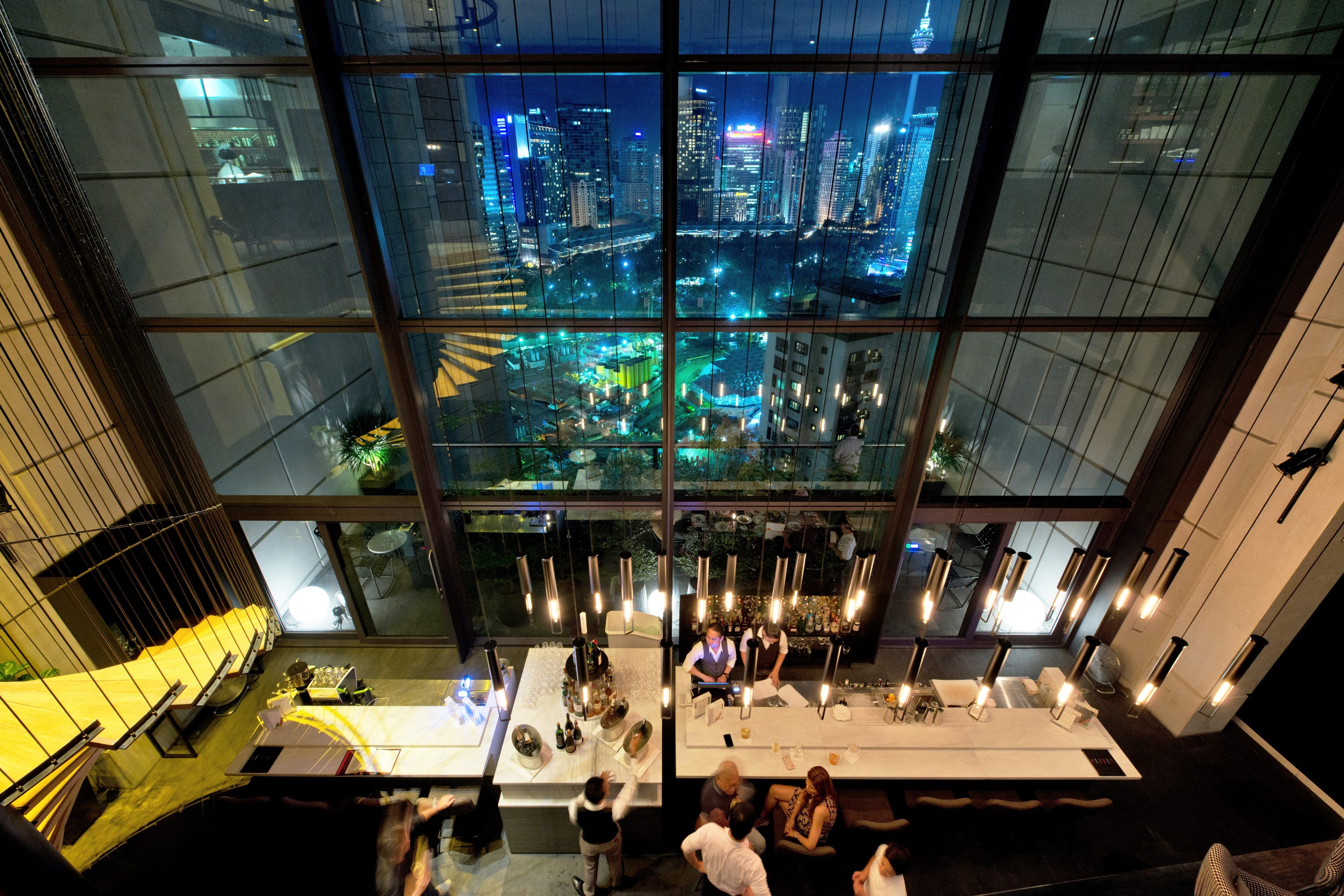 Views across the city from Fuego at Troika Sky Dining