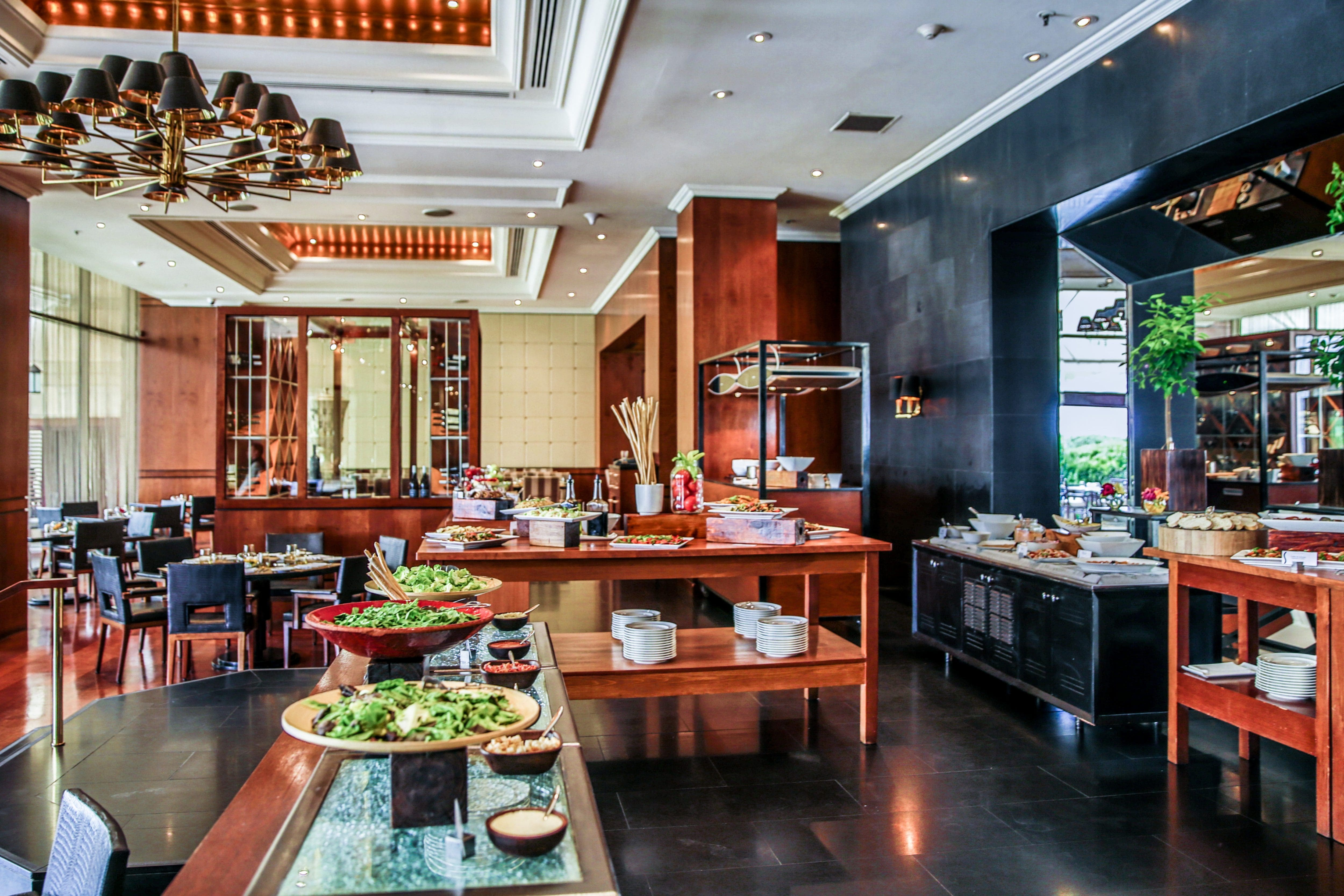 Plates of food on display in Senso restaurant at Mandarin Oriental, Santiago