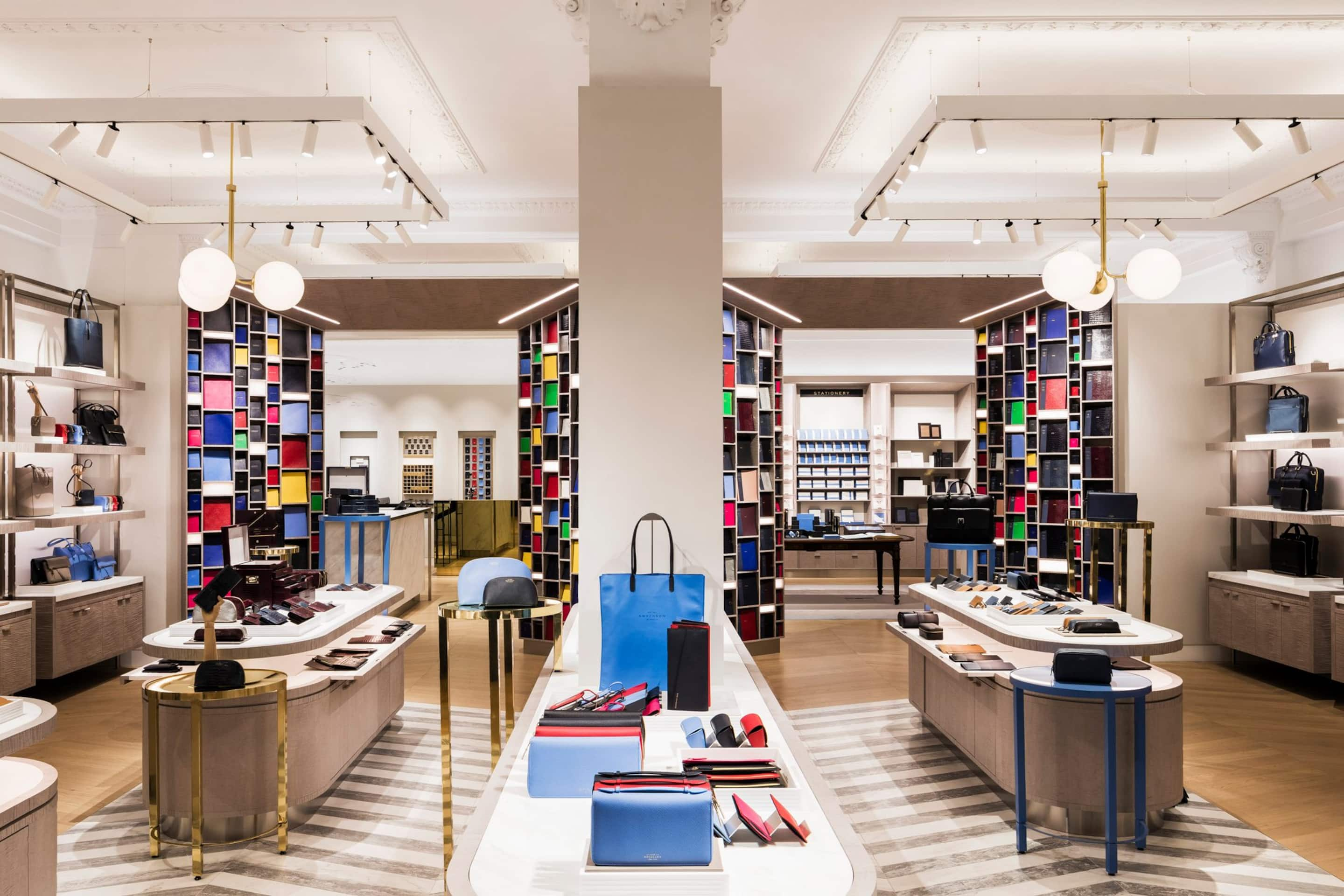 Bags and leather accessories on display at Smythson on New Bond Street, London