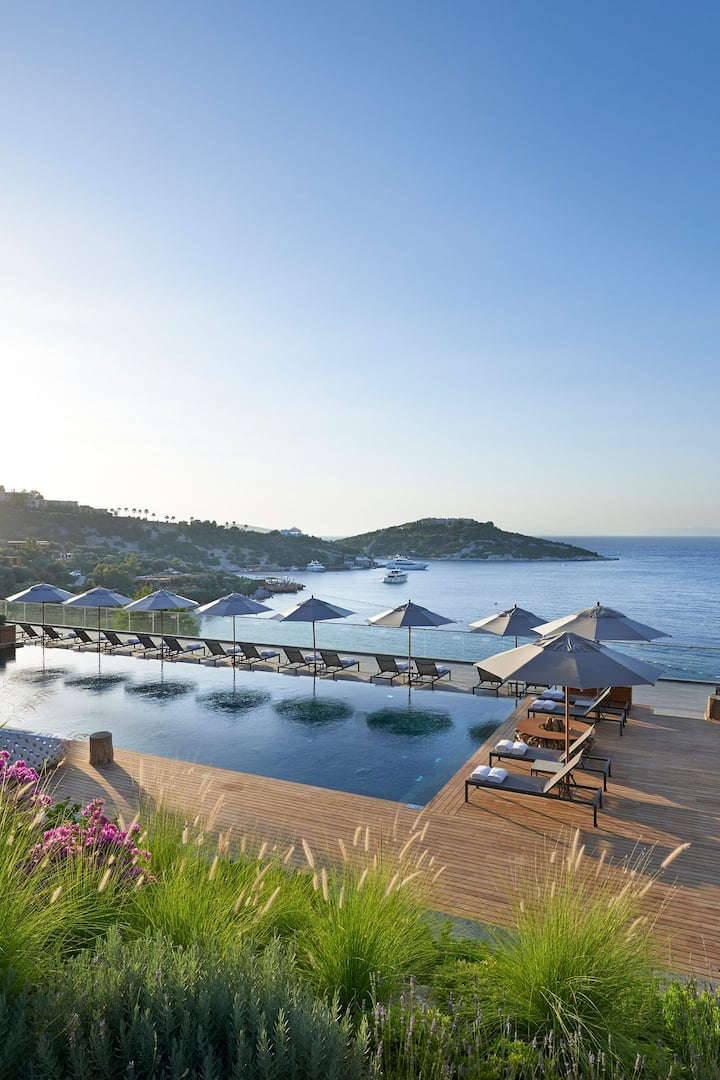 View of sea from assagio pool at Mandarin Oriental, Bodrum