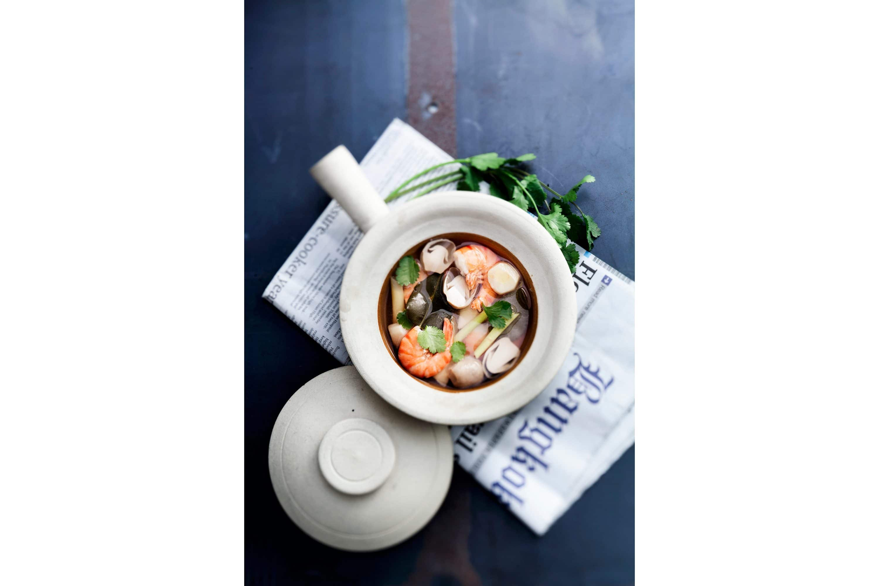 Tom yum in a bowl