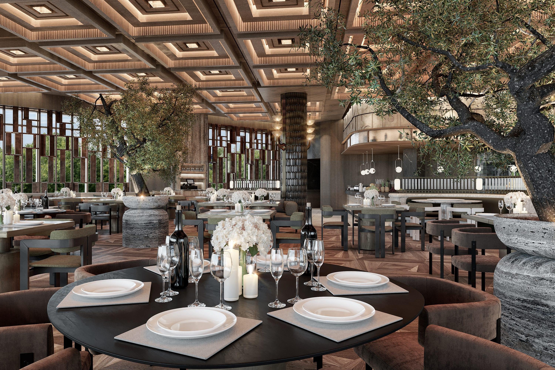Interior of fine dining restaurant at Mandarin Oriental