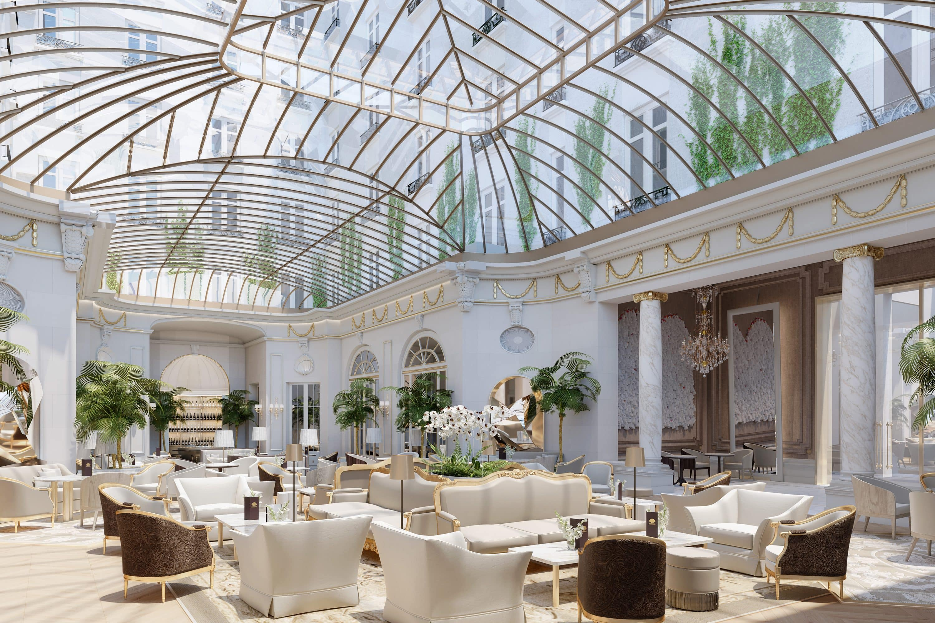 Palm Court with glass ceiling