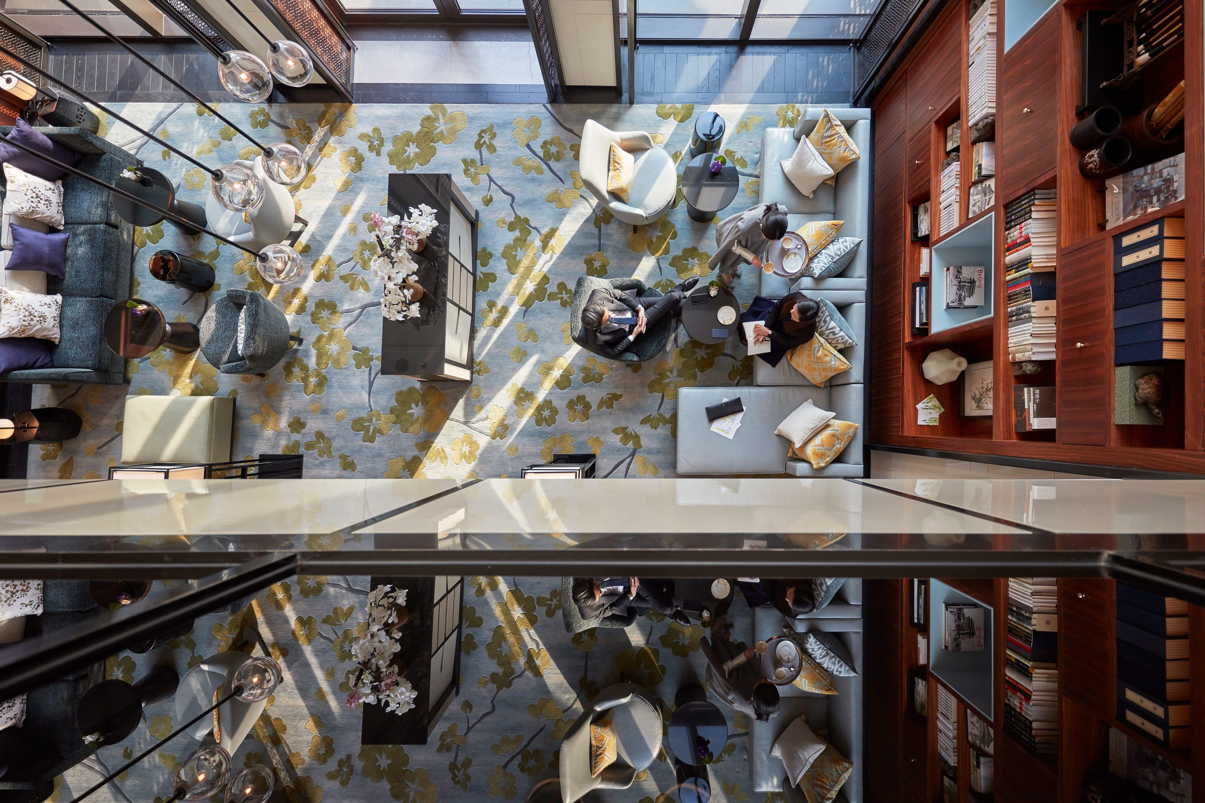Bird's-eye view of the Library lounge at MO Wangfujing