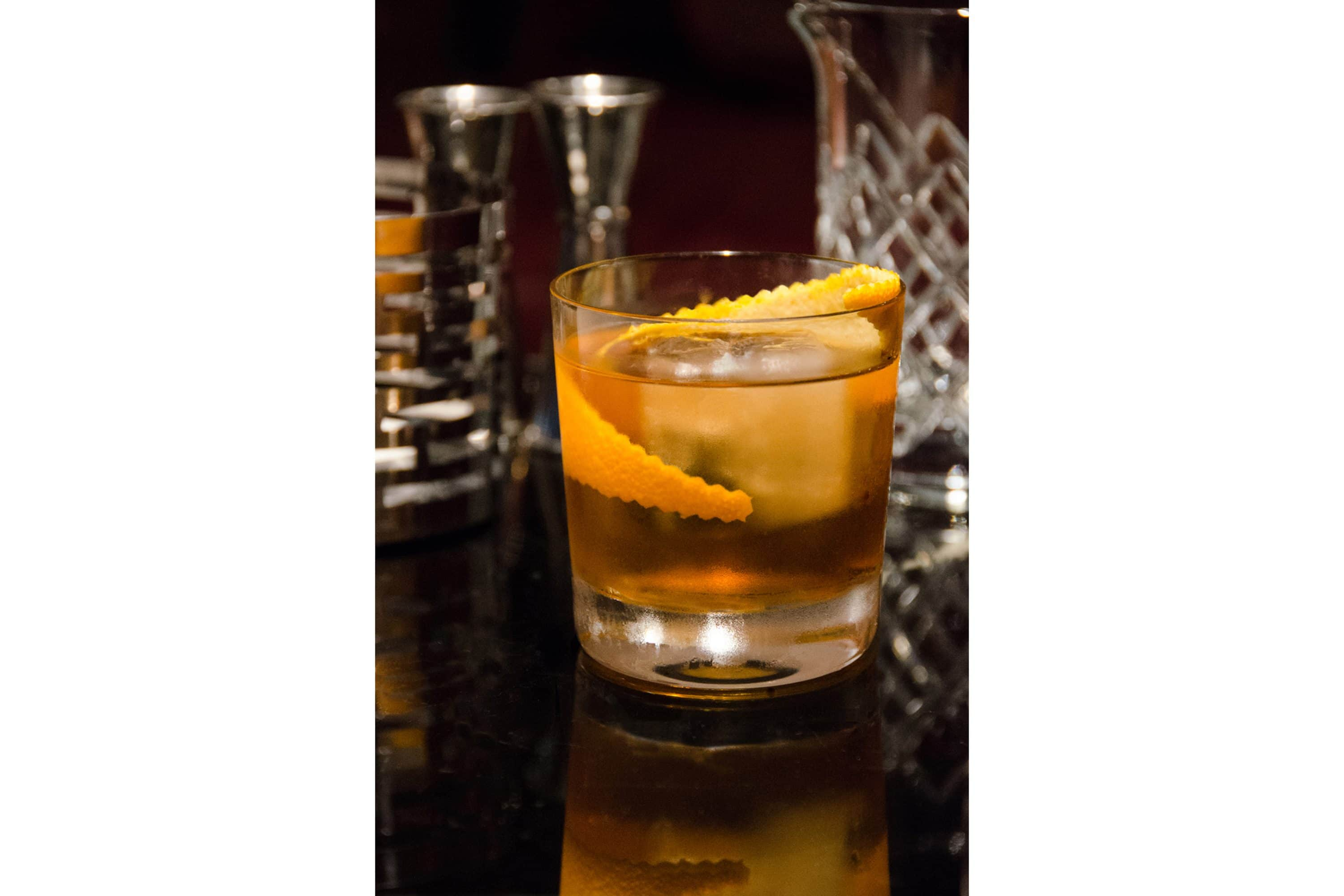Negroni cocktail with a slice of orange peel