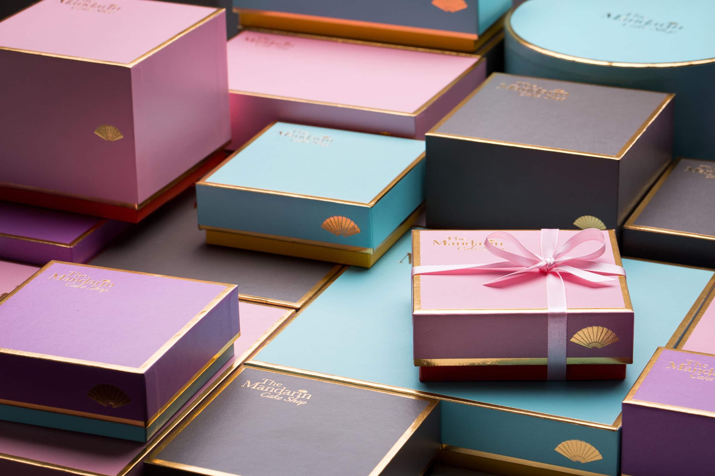 Pastel-hued gift boxes