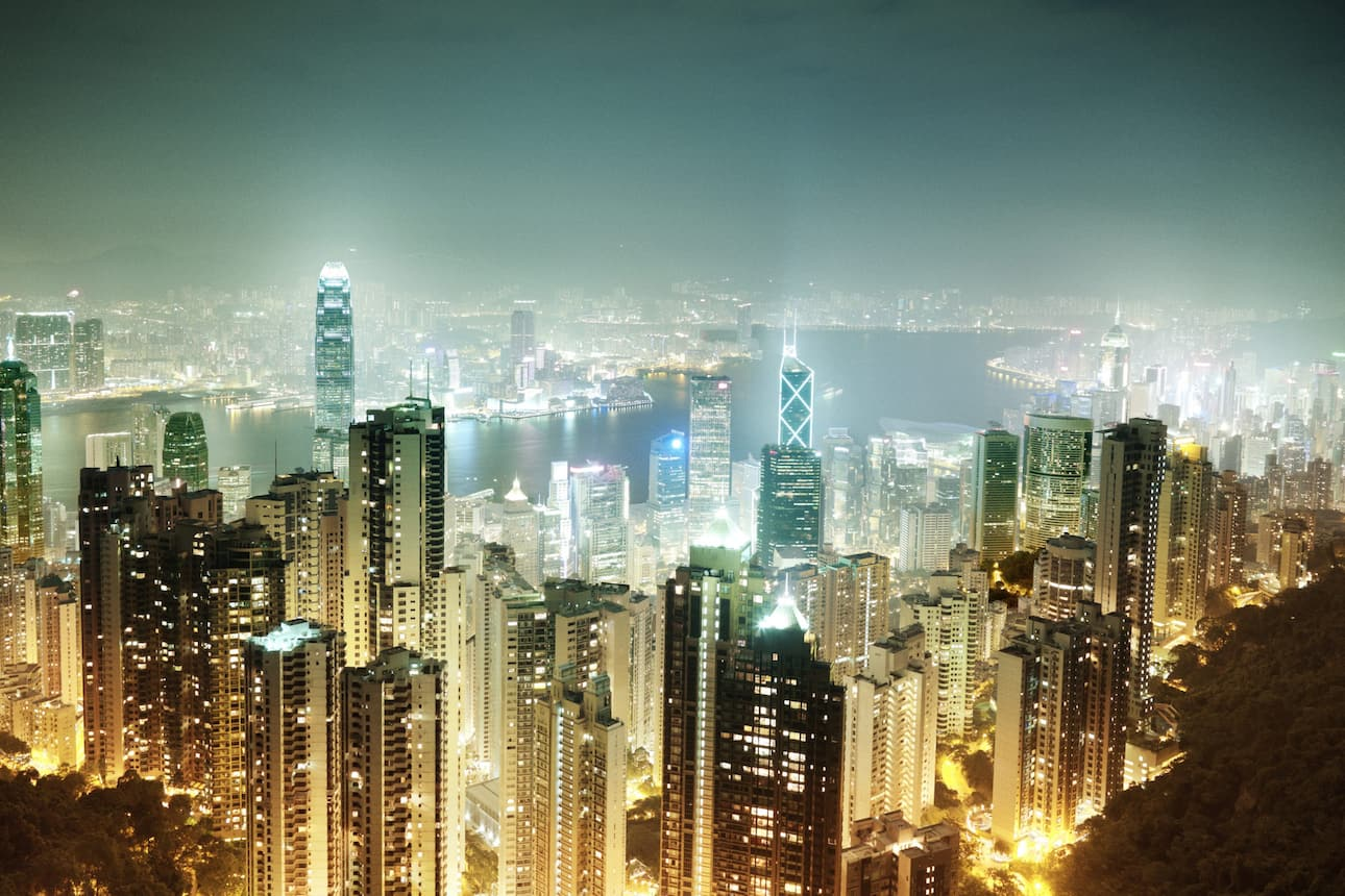 Hong Kong Island by night looking from The Peak