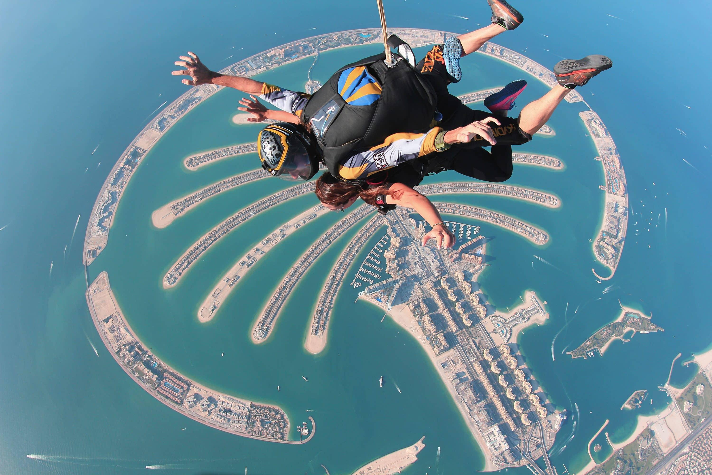 Skydivers over The Palm Dubai