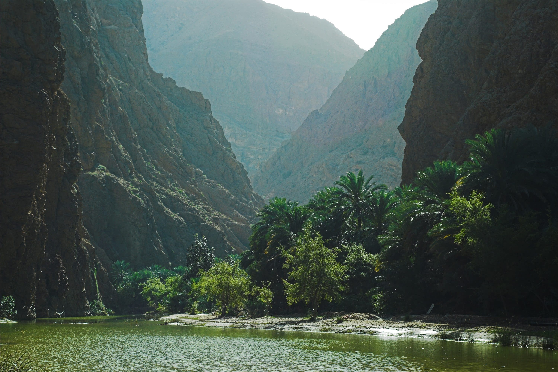Valley and river of Wadi Tiwi Canyon, Oman