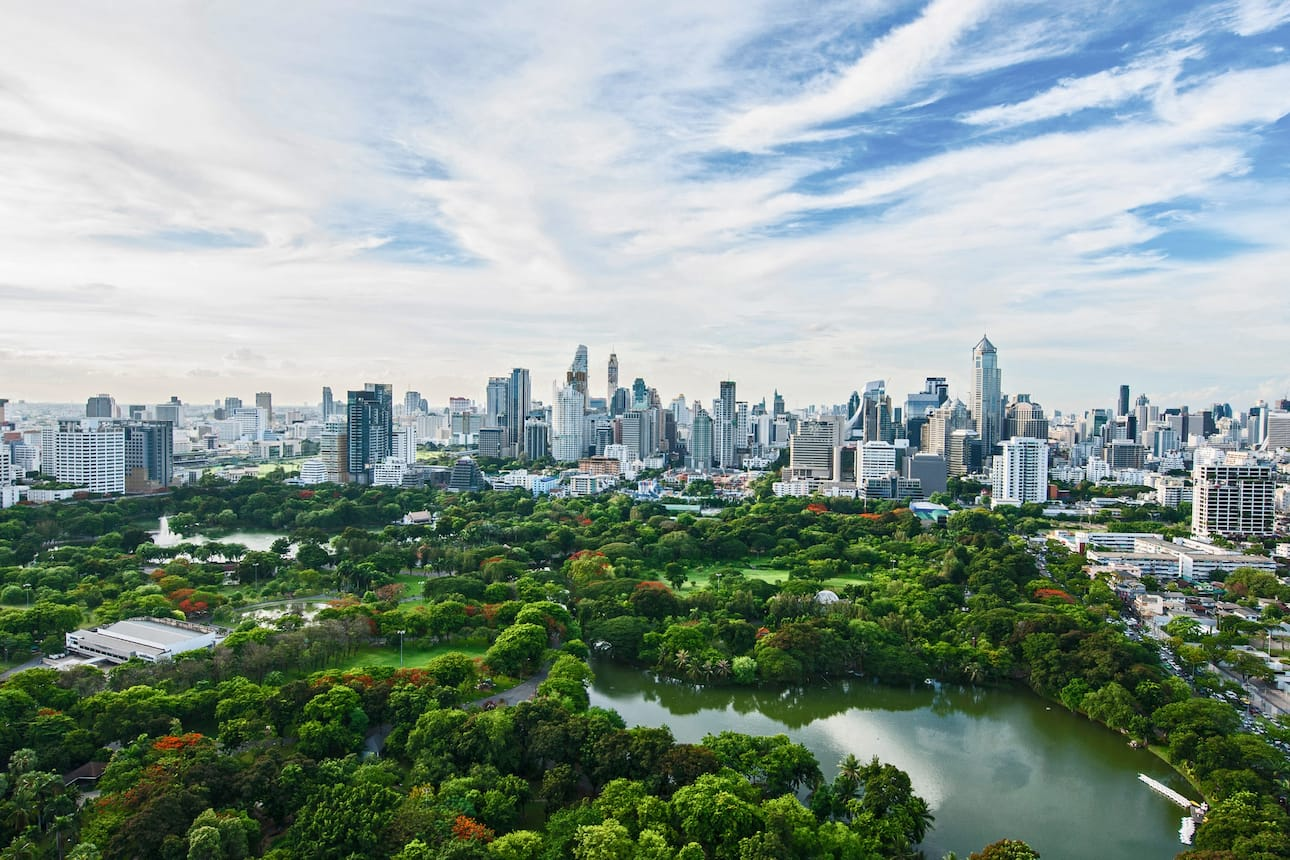 View of the Bangkok cityscape and sprawling Lumphini Park