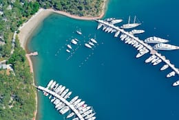 Aerial view of yachts moored at a jetty in Bodrum, Turkey