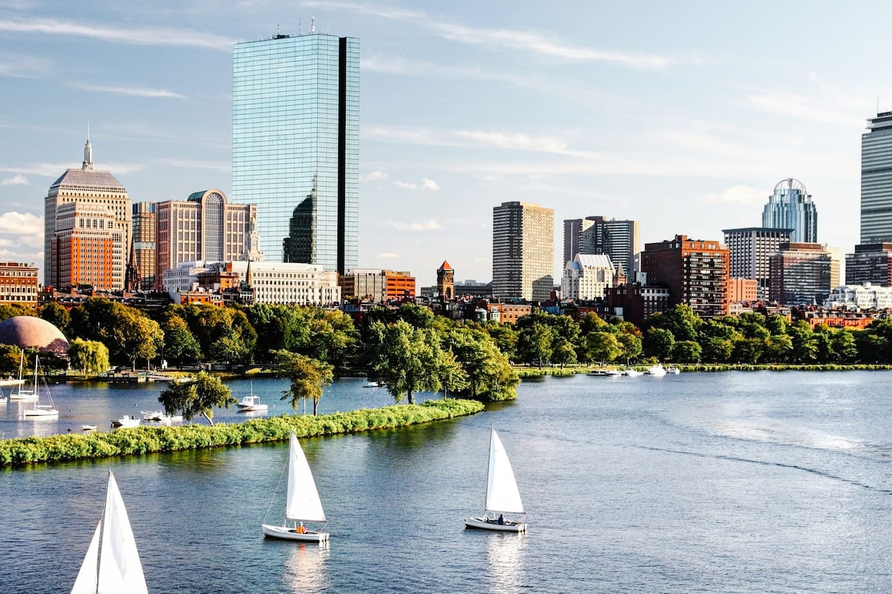 View of Back Bay in Boston from Charles River