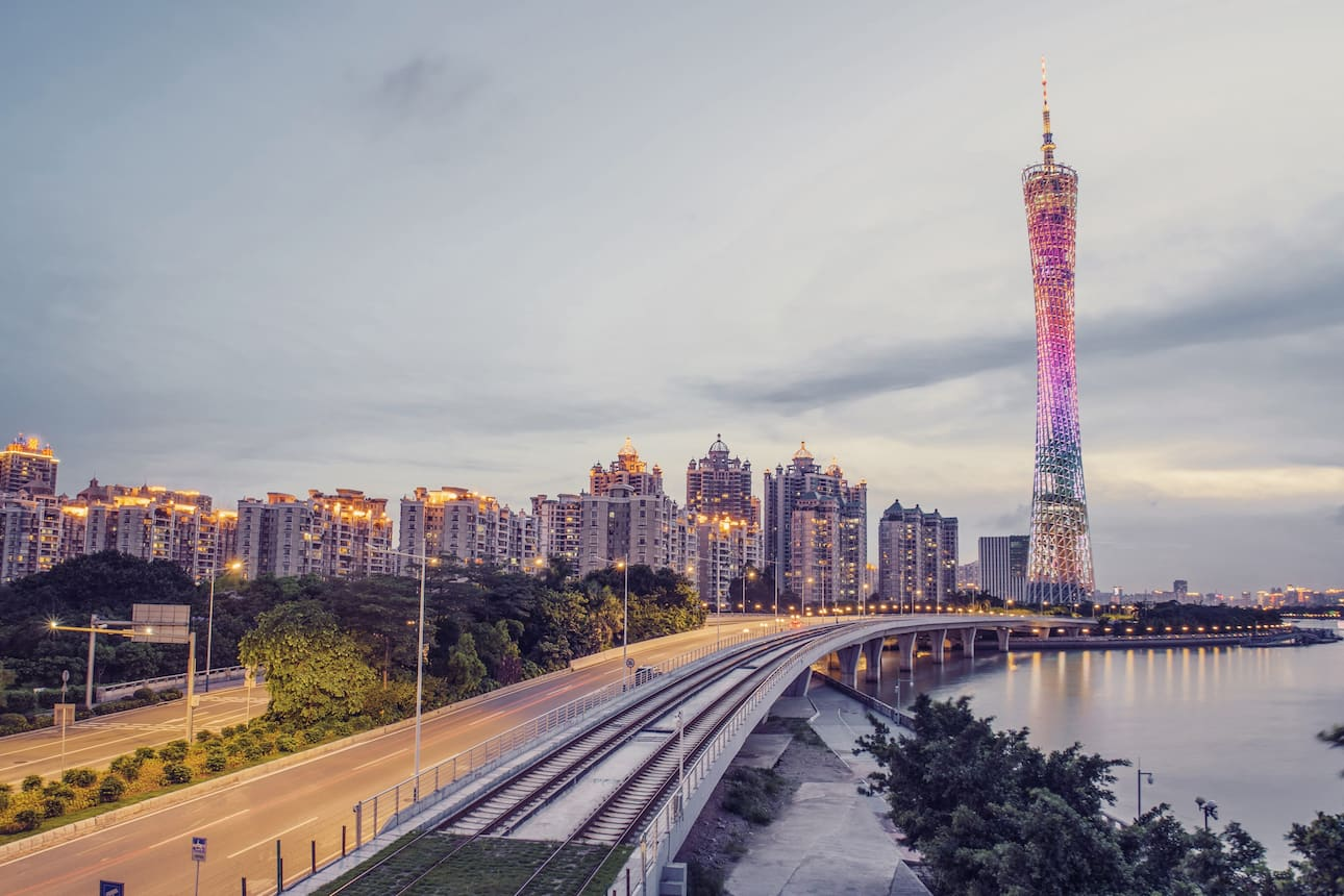 View of the Canton Tower along the Zhujiang River in Gunagzhou