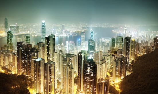 View of the Hong Kong skyline by night as seen from The Peak