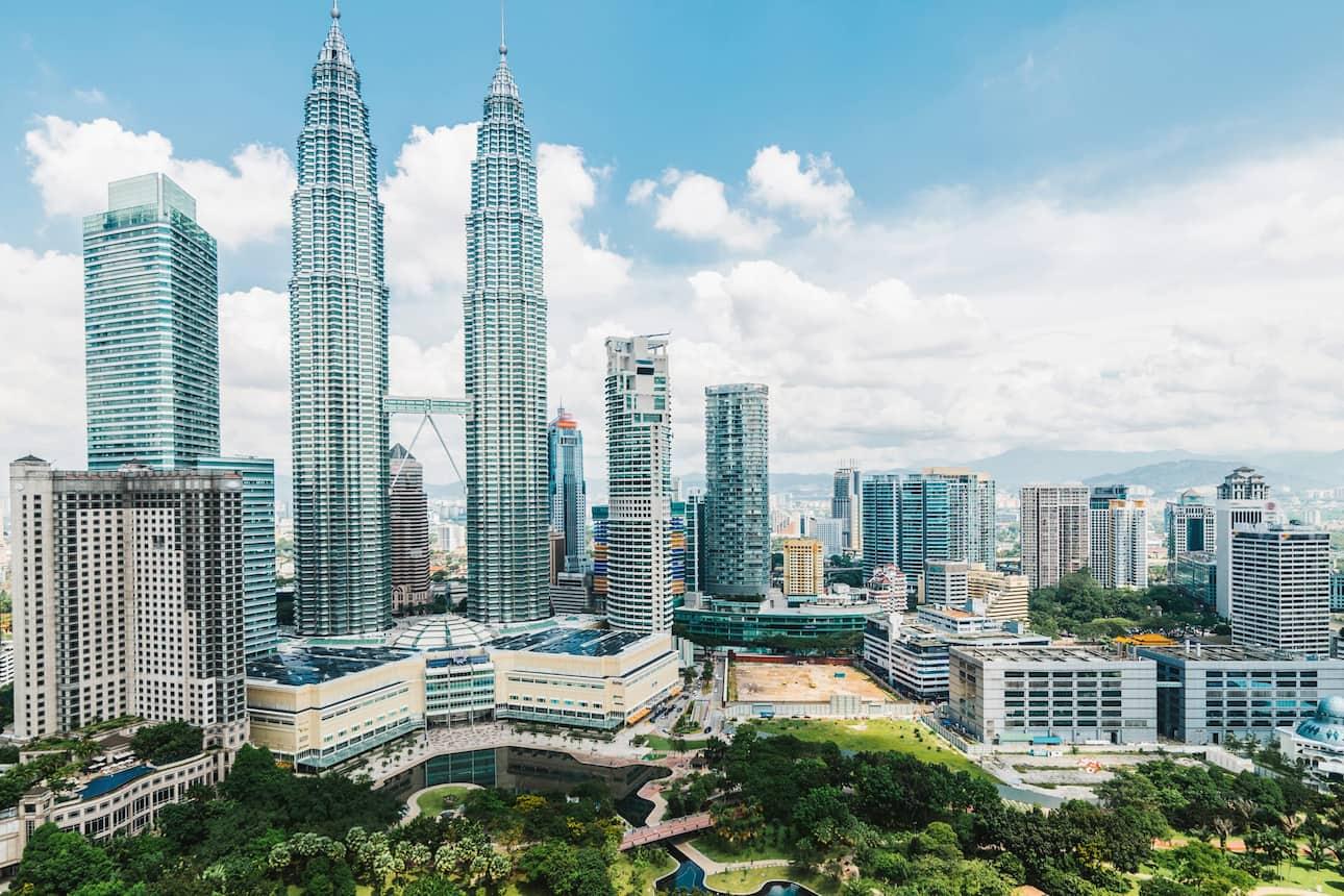 The imposing Petronas Towers in Kuala Lumpur